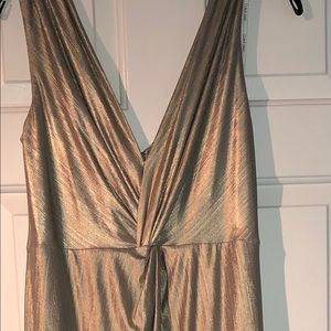 Calvin Klein twisted metallic knotted gown
